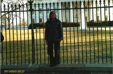 Connie Marshall in Washington for the Presidential Commission for the Study of Bioethical Issues Meeting standing in front of the Whitehouse